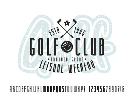 bold: Narrow sanserif font and golf club label. Bold face. Print on white background