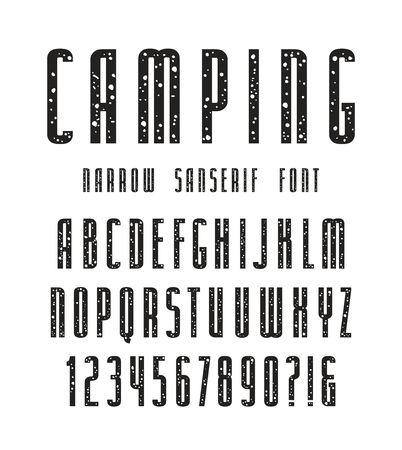 narrow: Narrow sanserif font with speckled texture. Bold face. Black print on white background