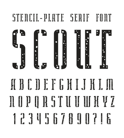 serif: Narrow stencil-plate serif font with speckled texture. Bold face. Black print on white background Illustration