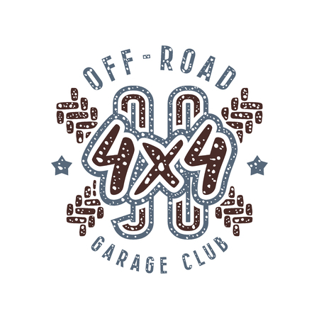 racing emblem: Off-road racing emblem in retro style. Graphic design for t-shirt. Color  print on white background