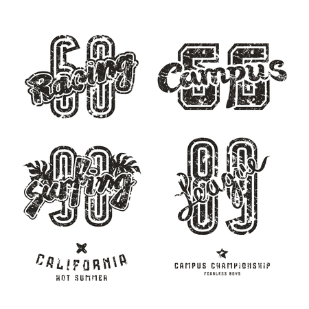 campus: Set of sport design elements for emblems: surfing, racing, campus. Graphic design for t-shirt. Black print on white background