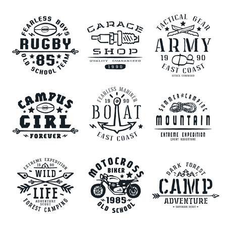 motorcycling: Set of team sports, motorcycling, camping  and military emblems. Graphic design for t-shirt. Isolated on white background Illustration