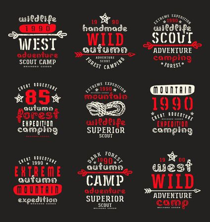 recreation: Set of typographic  compositions for t-shirt. Outdoor recreation. Print on black background