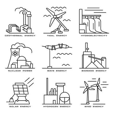 Biomass: Stock vector set of web icons on electricity generation plants and sources. Illustration in thin line style