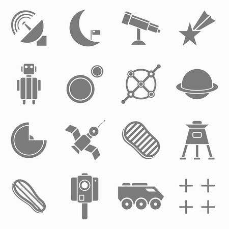 airwaves: Set of flat icons space. White and gray color