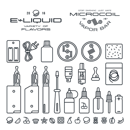 Vape labels, e-cigarette and fruit flavor icons in thin line style. Black print on white background