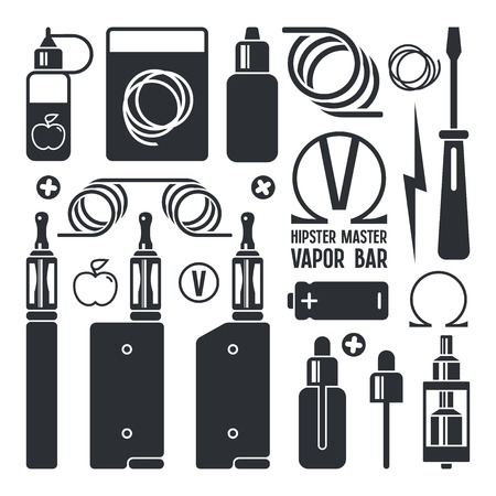 Vape shop and e-cigarette icons. Isolated on white background