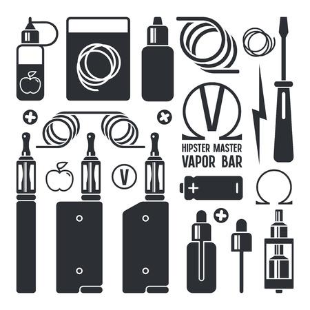 eliquid: Vape shop and e-cigarette icons. Isolated on white background
