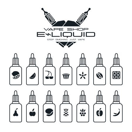 eliquid: Vape shop e-liquid flavors icons set in flat style. Black print on white background
