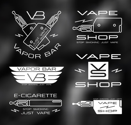 Vapor bar and vape shop in thin line style. White print  on blurred background