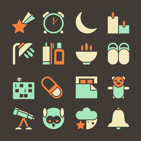 sleeping pills: Icons set deep sleep. Colored icons in a flat style on a dark brown background Illustration