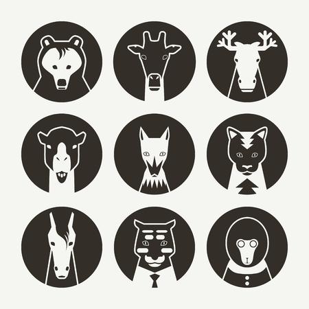 forelock: Stylized animal avatar set in flat style for social networks. Black emblem on a white background Illustration