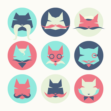Stylized animal avatar set in flat style for social networks: character cats Illustration
