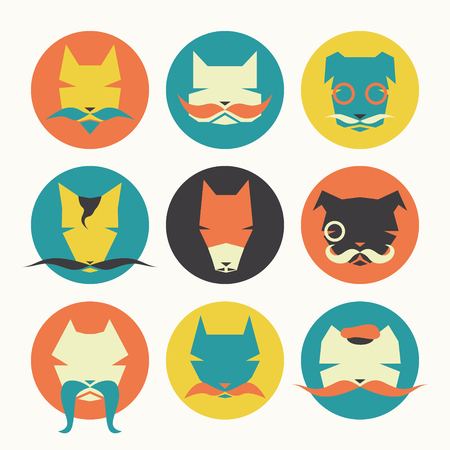 frenchman: Stylized animal avatar set in flat style for social networks: character dogs