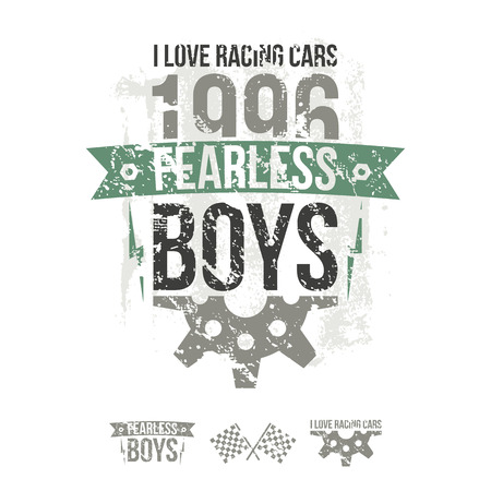 fearless: Emblem of the fearless riders boys in retro style. Graphic design for t-shirt. Color print on white background