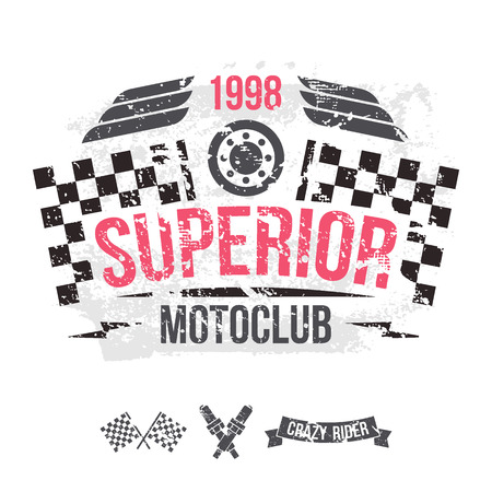 boyish: Emblem of the motorcycle club in retro style. Graphic design for t-shirt. Color print on white background Illustration