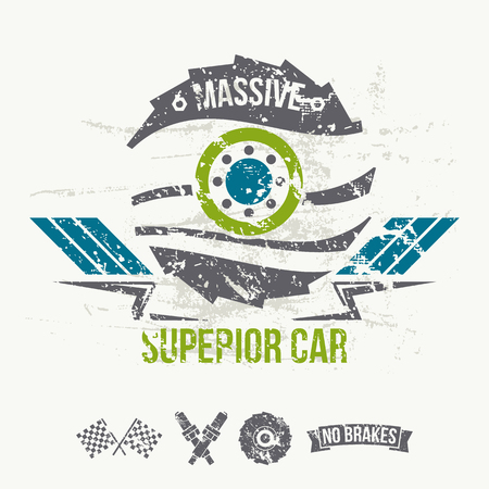massive: Emblem of the massive superior car in retro style. Graphic design for t-shirt. Color print on white background