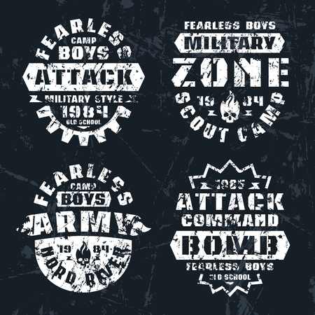 warlike: Military and scout badges. Graphic design for t-shirt. Color print on white background