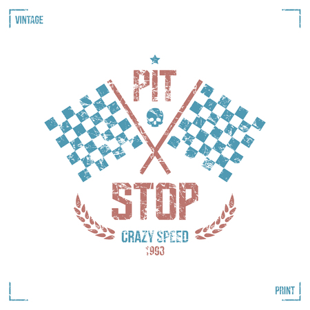 pit stop: Pit stop emblem in retro style. Graphic design for t-shirt. Color print on  white background Illustration