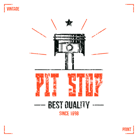 pit: Pit stop emblem in retro style. Graphic design for t-shirt. Color print on  white background Illustration
