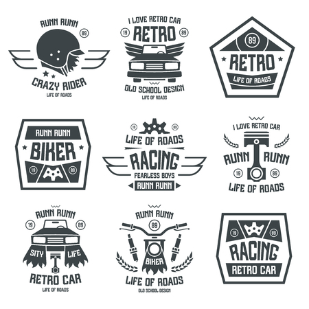 Racing badges in retro style. Graphic design for t-shirt. Black print on white background