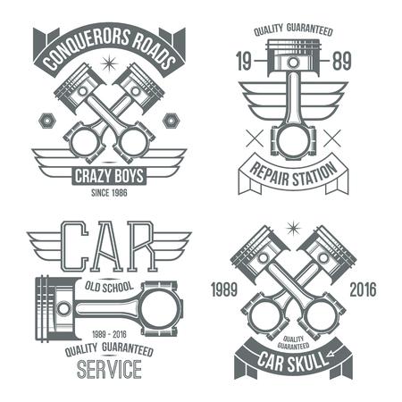 Car engine piston emblems. Grey print on a white background Vektorové ilustrace