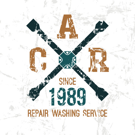Car service wheel brace emblem in retro style. Graphic design for t-shirt. Color print on white background
