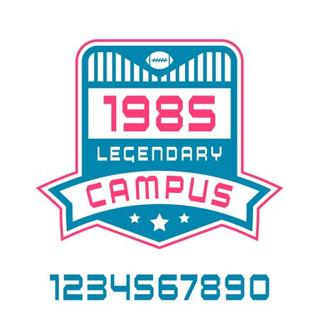 campus: Sport numbers and campus emblem. Graphic design for t-shirt. Color print on white background