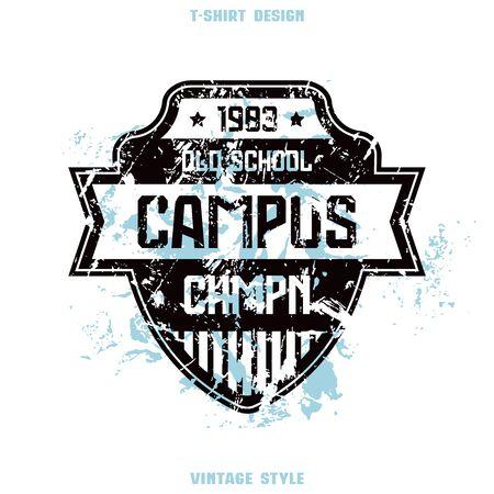 Campus sport team emblem. Graphic design for t-shirt. Print on white background