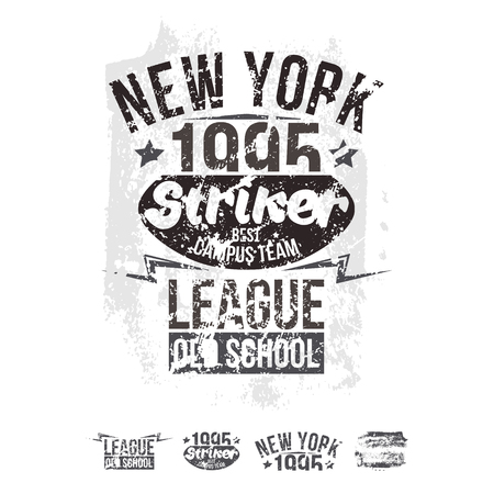 threadbare: College New York team rugby retro emblem and design elements. Graphic design for t-shirt. Brown print on a white background