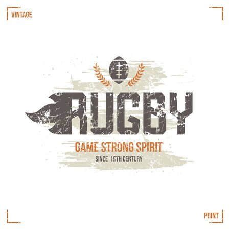 boyish: College rugby team emblem in retro style. Graphic design for t-shirt. Color  print on white background Illustration