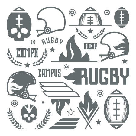major league: College rugby team badges in retro style. Graphic design for t-shirt. Monochrome print on a white background Illustration