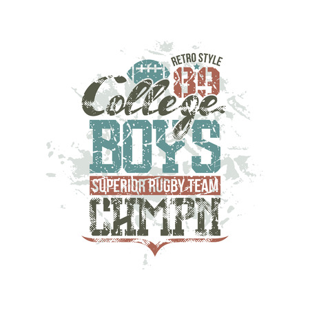 boyish: College rugby team emblem. Graphic design for t-shirt. Color print on a white background Illustration