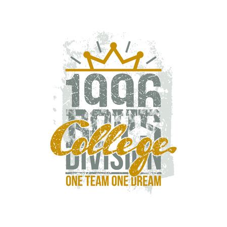 College Division Sport Emblem Graphic Design For T Shirt Color
