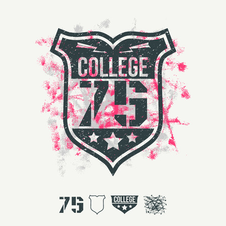 College sport emblem and design elements. Bright colors. Graphic design for t-shirt on white background Illustration