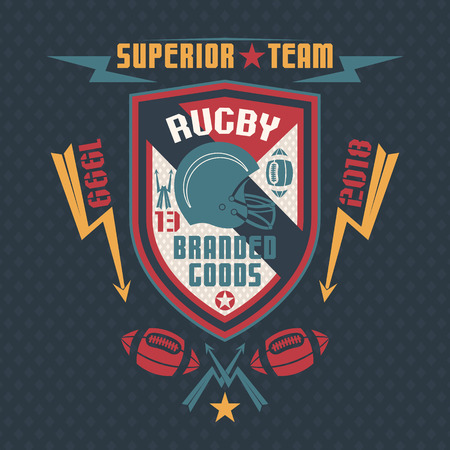 rebellious: Rugby team emblem on a blue background