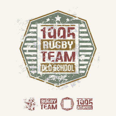 threadbare: College team rugby retro emblem and design elements. Graphic design for t-shirt. Camouflage color drawing on a light background