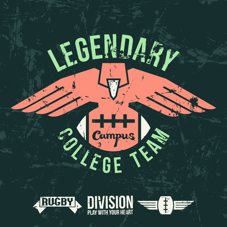 rugby team: Emblem of the college rugby team in retro vintage style. Graphic design for t-shirt. Color print on a dark background