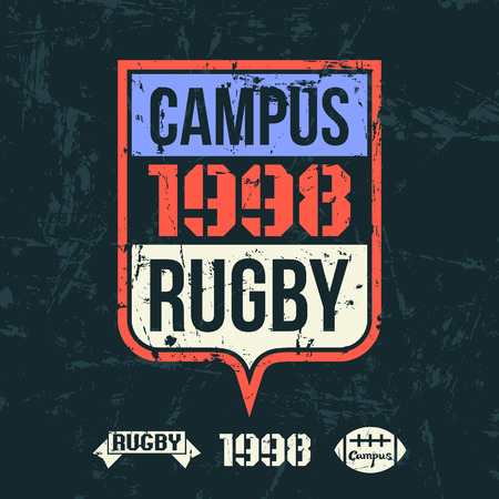 rebellious: Emblem of the college rugby team in retro vintage style. Graphic design for t-shirt. Color print on a dark background