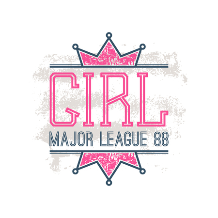 major league: Girl sport emblem in retro style. Trendy graphic design for t-shirt. Color print on a white background