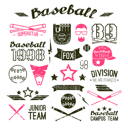campus: Icons baseball campus team in retro style. Graphic design elements print for t-shirt with shabby texture
