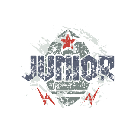Junior rugby team emblem in retro style. Graphic design for t-shirt. Color print on a white background