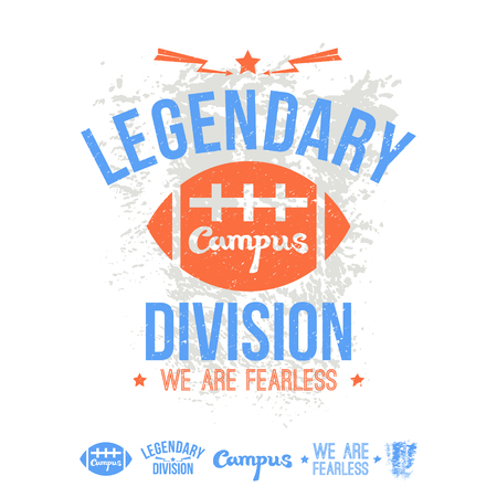 legendary: College  legendary division rugby emblem and icons graphic design for t-shirt. Print on a white background Illustration