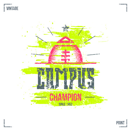 campus: Rugby campus team emblem in retro style. Graphic design for t-shirt. Color  print on white background