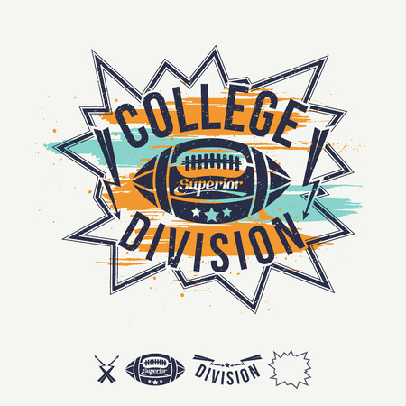 rebellious: Rugby emblem college division bright colors. Graphic design for t-shirt on white background