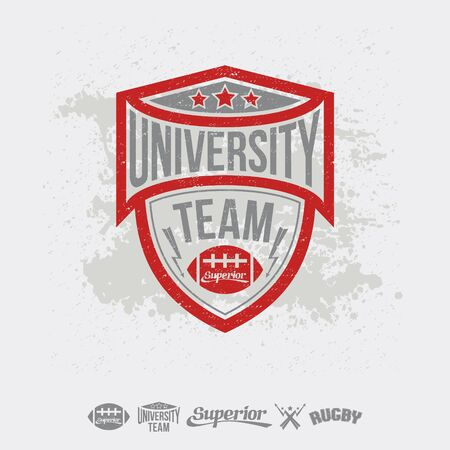 rebellious: Rugby emblem university team and design elements. Graphic design for t-shirt on white background