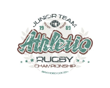 warlike: Rugby emblem with shabby texture. Graphic design for t-shirt. Color print on white background