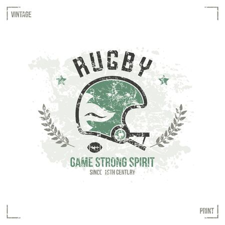 rugby team: Rugby team helmet emblem in retro style. Graphic design for t-shirt. Color  print on white background