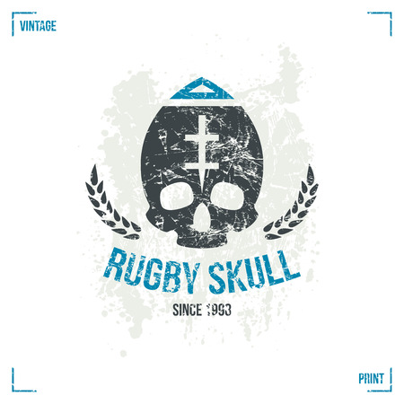 rugby team: Rugby team skull emblem in retro style. Graphic design for t-shirt. Color  print on white background Illustration