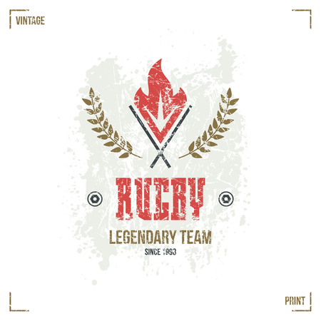 warlike: Rugby team torch emblem in retro style. Graphic design for t-shirt. Color  print on white background Illustration